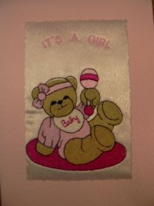 PERSONALISED EMBROIDERED TEDDY WITH THE RATTLE CARD